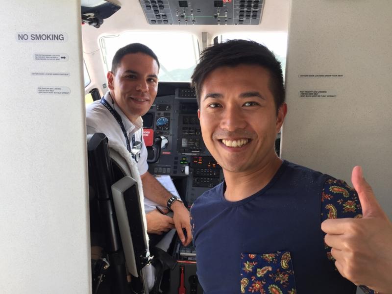 中美洲之旅其中一個行程是乘坐這架Pilatus PC-12小型飛機,由波多黎各飛往聖巴泰勒米島機場這個全球其中一個降落難度最高的機場。