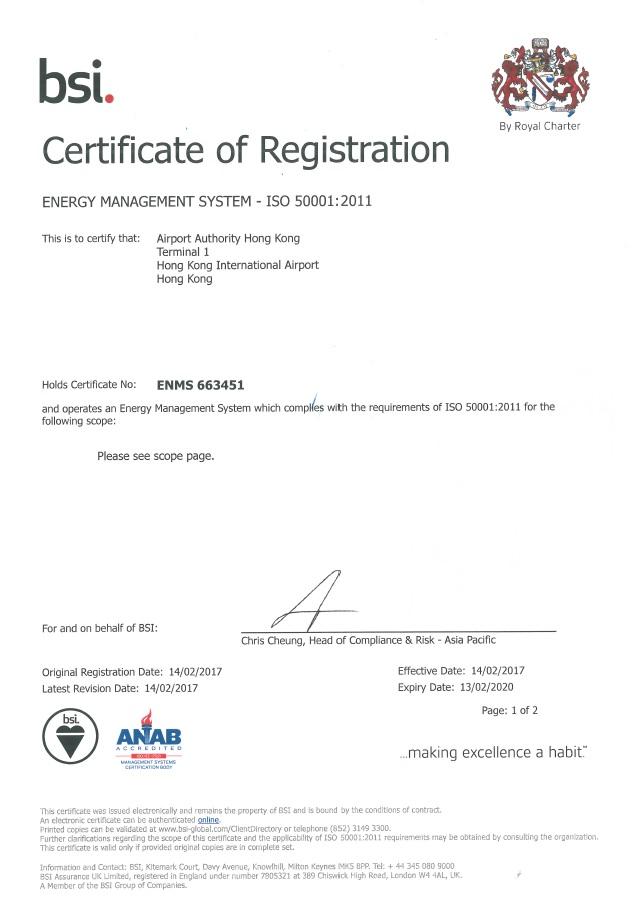 機管局透過採取各項節能措施,例如安裝發光二極管燈(LED)及提升空調系統,致使機場一號客運大樓最近成功取得ISO50001能源管理系統認證。