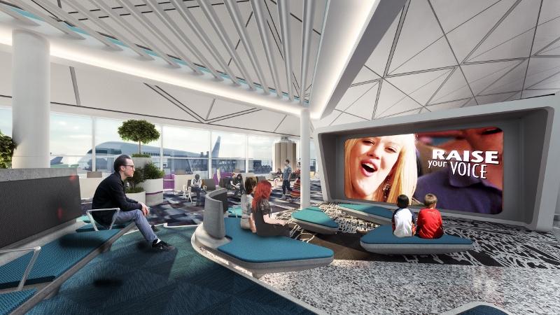 登機閘口將增設不同主題區域,如娛樂及科技區將有電影播放。